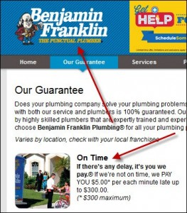 Ben Franklin Plumbing USP Guarantee