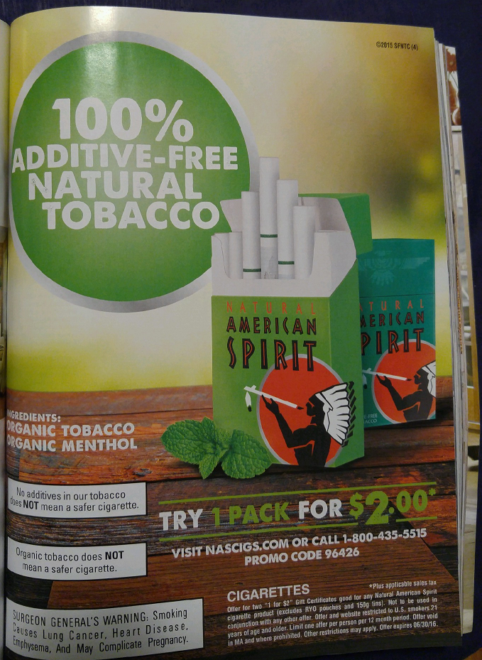 Natural American Spirit organic marketing